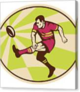 Rugby Player Kicking The Ball Retro Canvas Print