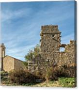 Ruined Building And Restored Church At Occi In Corsica Canvas Print