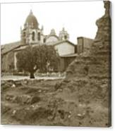Ruins Of Carmel Mission Circa 1924 Canvas Print