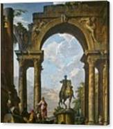 Ruins With The Statue Of Marcus Aurelius Giovanni Paolo Panini Canvas Print