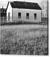 Rural Church Black And White Canvas Print