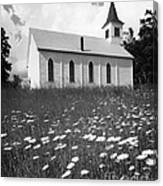 Rural Church In Field Of Daisies Canvas Print