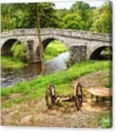 Rural France With Old Stone Arched Bridge Canvas Print