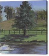 Rural Landscape Painting Of Bauer Farm Canvas Print