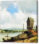 Rural Landscape With River Canvas Print