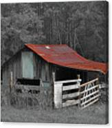 Rural Red - Red Roof Barn Rustic Country Rural Canvas Print