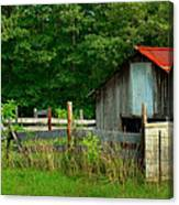 Rural Serenity - Red Roof Barn Rustic Country Rural Canvas Print
