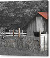 Rural Serenity Black And White Version - Red Roof Barn Rustic Country Rural Canvas Print