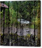 Rushing Cascade In The Andes - On Bark Canvas Print