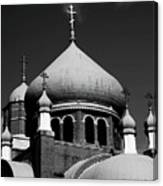 Russian Orthodox Church Bw Canvas Print