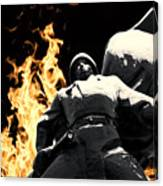 Russian Soldier Statue In Snow And Fire Canvas Print