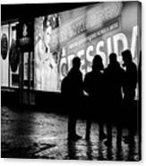 Russian Teens At Night Outside A Shopping Center Canvas Print