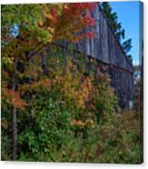 Rustic Barn Above The Fall Colors Canvas Print