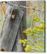 Rustic Fence And Wild Flowers Montana Canvas Print