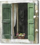 Rustic Open Window With Green Shutters Canvas Print