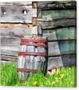 Rustic Rain Barrel At Old World Wisconsin Canvas Print