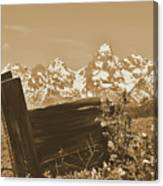 Rustic View Of Grand Teton Canvas Print