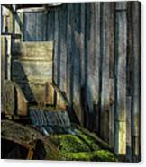 Rustic Water Wheel With Moss Canvas Print