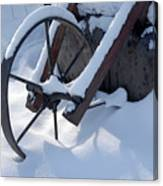 Rustic Wheel In The Snow#2 Canvas Print