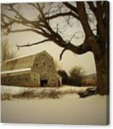 Rustic White Barn In Winter - Boone N.c.  Canvas Print