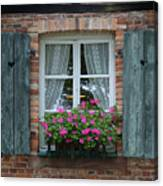 Rustic Window And Red Bricks Wall Canvas Print