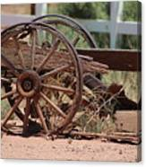 Rustic Wooden Wagon Wheel in Alamogordo New Mexico Canvas Print