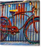 Rusty Bike With Lights Canvas Print