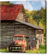 Rusty Ford At The Barn Canvas Print