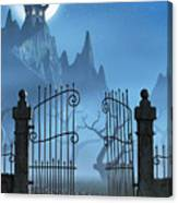 Rusty Gate And A Spooky Dark Castle Canvas Print