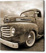 Rusty Jewel In Sepia - 1948 Ford Canvas Print