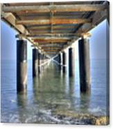 Rusty Pier  On The Ocean  From Below Canvas Print