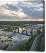 Rva Sunset Train Bridge Style Canvas Print