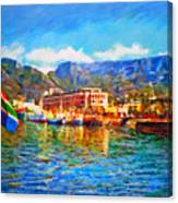 Sa Flag At The Waterfront Canvas Print