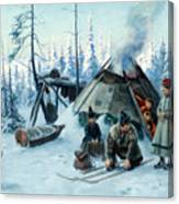 Saami Family At The Hut Canvas Print