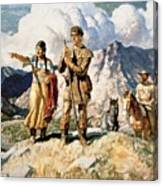 Sacagawea With Lewis And Clark During Their Expedition Of 1804-06 Canvas Print