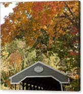 Saco River Covered Bridge Under Fall Foliage Canvas Print