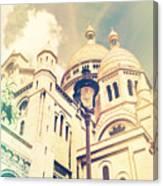 Sacre Coeur Church Vintage Shabby Chic Style Canvas Print