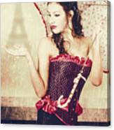 Sad French Pin-up Woman. Loss In The City Of Love Canvas Print