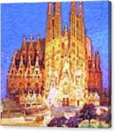 Sagrada Familia At Night Canvas Print