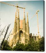 Sagrada Familia With Catalonia's Flag Canvas Print