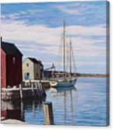 Sail Boat At Rockport Canvas Print