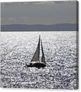 Sail Boat In A Sea Of Diamonds  Canvas Print