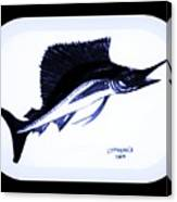 Sail Fish In Black And White Watercolor Canvas Print