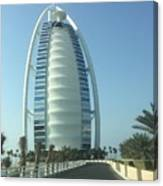 Sail-shaped Silhouette Of Burj Al Arab Jumeirah  Canvas Print