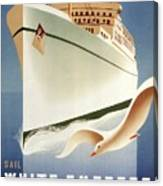 Sail White Empress To Europe - Canadian Pacific - Retro Travel Poster - Vintage Poster Canvas Print