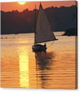 Sailboat And Sunset, South River Canvas Print