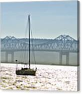 Sailboat And The Tappan Zee Bridge Canvas Print