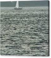 Sailboat And Waves, Piscataqua River, Maine 2004 Canvas Print
