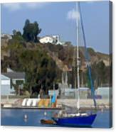 Sailboat At Anchor In Harbor Canvas Print