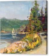 Sailboat At Rebecca Spit Canvas Print